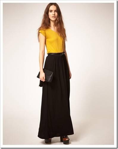 С чем носить длинную черную юбку?