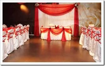 Как украсить зал на свадьбу тканью
