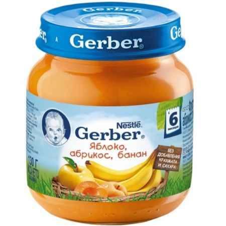 Купить Gerber Пюре Яблоко, абрикос, банан с 6 мес., 130 г