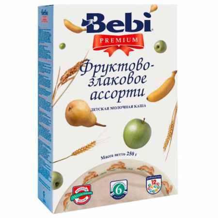 Купить Bebi Молочная каша Premium фруктово-злаковое ассорти с 6 мес. 250 г