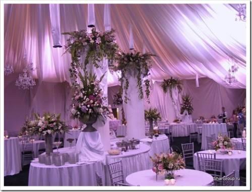 Ткани и драпировки зала на свадьбу