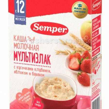 Купить Semper Каша Молочная мультизлак с кусочками клубники, яблоком и бананом с 12 мес. 200 г