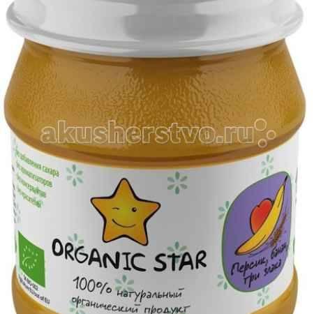 Купить Organic Star Пюре Персик, банан, 3 злака с 6 мес. 100 г