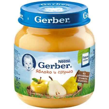 Купить Gerber Пюре Яблоко и груша с 5 мес., 130 г
