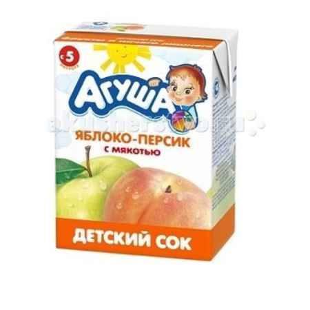 Купить Агуша Сок детский с мякотью без сахара Яблоко-персик 200 мл
