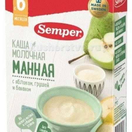 Купить Semper Каша Молочная манная с яблоком, грушей и бананом с 6 мес. 200 г