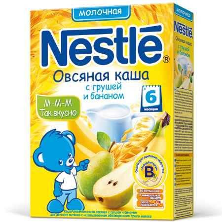 Купить Nestle Овсяная молочная каша с грушей и бананом с 6 мес. 250 г