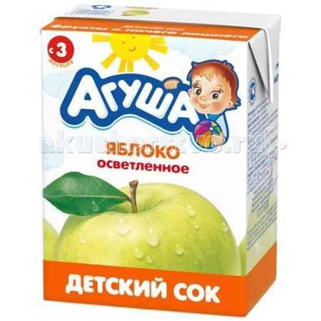 Купить Агуша Сок детский осветленный без сахара Яблоко 200 мл