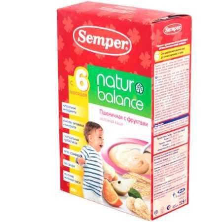 Купить Semper Пшеничная с фруктами молочная каша naturbalance с 6 мес. 225 г