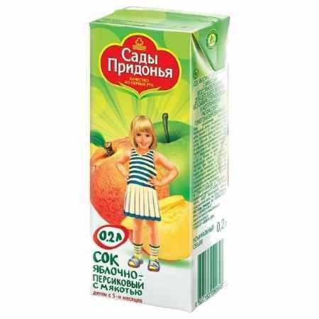 Купить Сады Придонья Сок Яблоко и персик с мякотью с 5 мес., 200 мл
