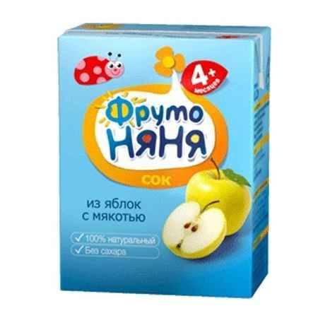 Купить ФрутоНяня Сок из яблок с мякотью с 4 мес., 200 мл (тетра пак)