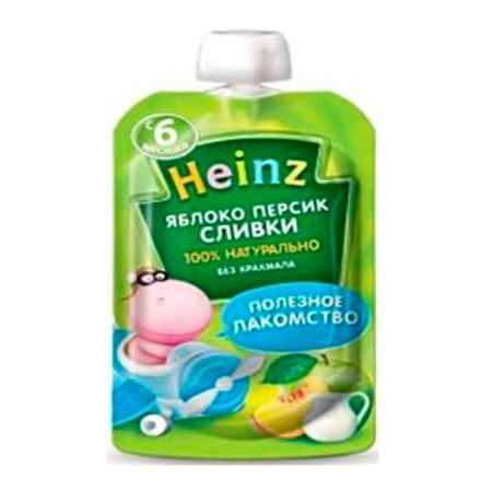 Купить Heinz Пюре яблоко, персик, сливки с 6 мес. 90 г