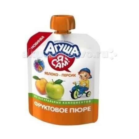 Купить Агуша Фруктовое пюре Яблоко-персик Я САМ! Doy-pack 90 г