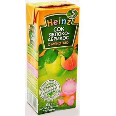 Купить Heinz Сок Яблочно-абрикосовый с мякотью с 5 мес., 200 мл (тетра пак)