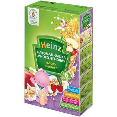 Купить Heinz Лакомая многозерновая молочная кашка Яблоко, вишенка с 6 мес. 200 г