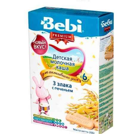 Купить Bebi Молочная каша Premium 3 злака с печеньем с 6 мес. 200 г