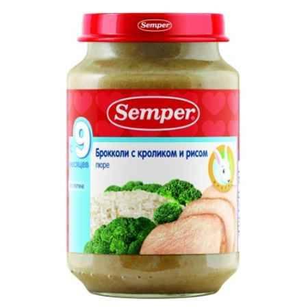 Купить Semper Пюре Брокколи с кроликом и рисом с 9 мес., 190 г