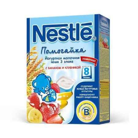Купить Nestle Каша Помогайка йогуртная 3 злака с бананом и клубникой с 8 мес. 200 г