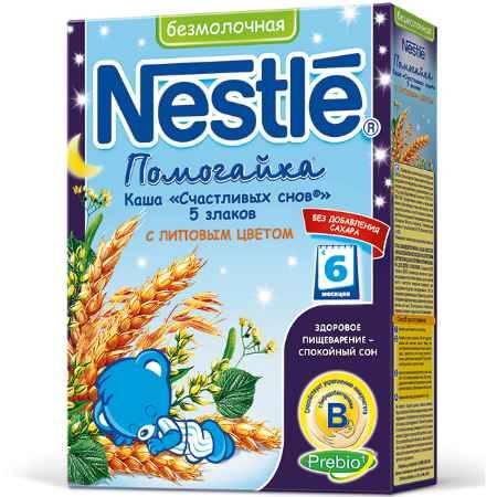 Купить Nestle Безмолочная каша Помогайка 5 злаков с липовым цветом с 6 мес. 200 г