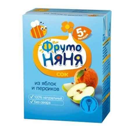 Купить ФрутоНяня Сок из яблок и персиков с 5 мес., 200 мл (тетра пак)