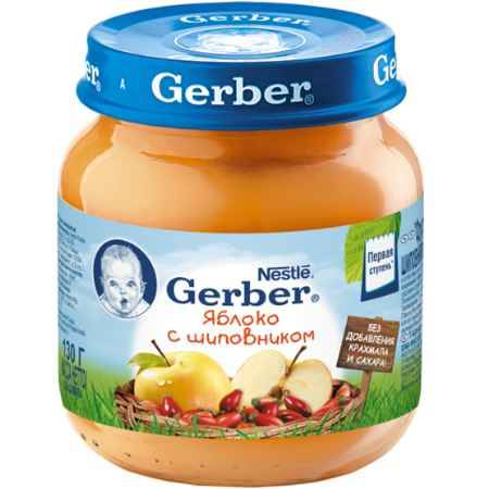 Купить Gerber Пюре Яблоко с шиповником с 5 мес., 130 г