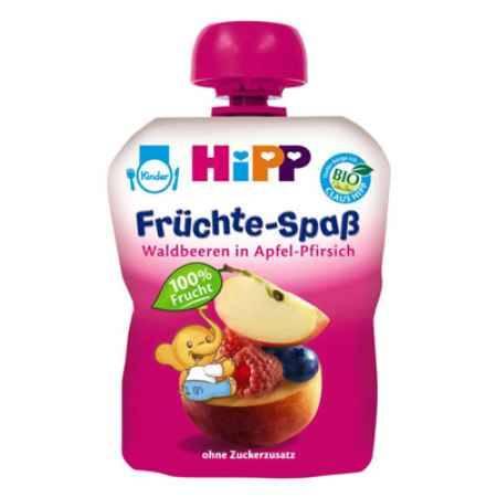 Купить Hipp Пюре яблоко, персик, лесные ягоды с 6 мес. 90 г