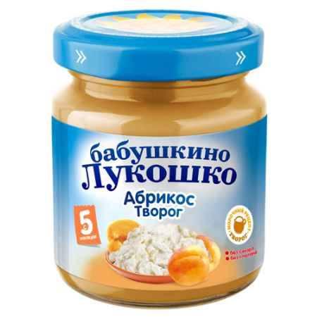 Купить Бабушкино лукошко Пюре Абрикос с творогом с 5 мес., 100 г