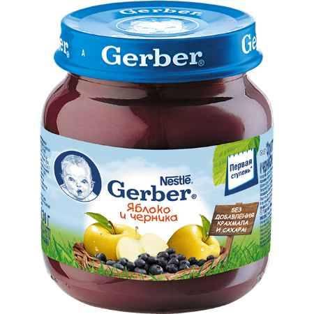 Купить Gerber Пюре Яблоко и черника с 5 мес., 130 г