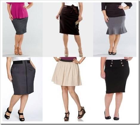 Цветовая гамма модных юбок для полных женщин включает шоколадный, тёмно-син