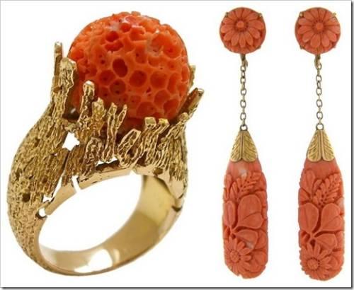 кольца и серьги из кораллов