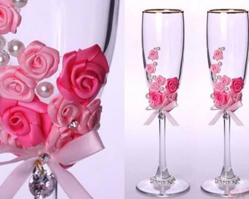 Оформление свадебных бокалов