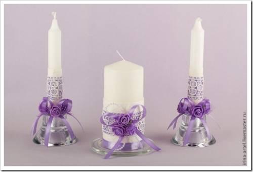 Украшение интерьерных свеч
