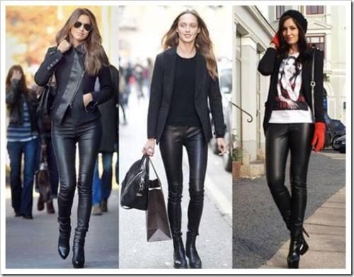 Что носить с кожаными леггинсами